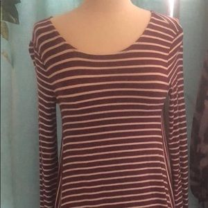Knit t shirt dress long sleeve burgundy stripe